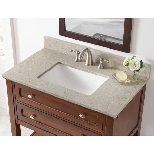 Home Decorators Collection 37 In W X 22 In D Engineered Quartz Vanity Top In Stoneybrook With White Single Trough Sink 37107 The Home Depot