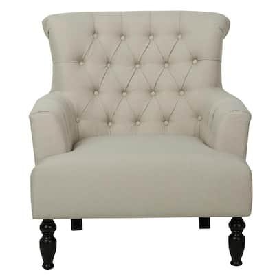 Byrnes Tufted Beige Fabric Club Chair