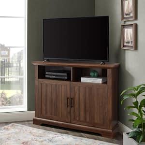 44 in. Dark Walnut Composite Corner TV Stand Fits TVs Up to 48 in. with Storage Doors