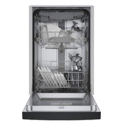 300 Series 18 in. ADA Compact Front Control Dishwasher in Black with Stainless Steel Tub and 3rd Rack, 46dBA