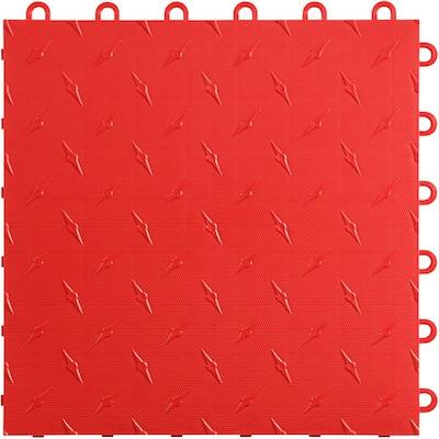 12 in x 12 in. Racing Red Diamondtrax Home Modular Polypropylene Flooring 50-Tile Pack (50 sq. ft)