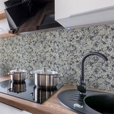 Sandbank Pebble Beige 11.875 in. x 11.875 in. Glossy Glass Mosaic Tile (0.979 sq. ft./Each)