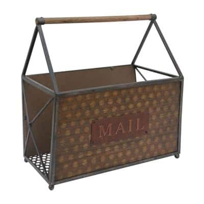 Brown and Gray with Handle and Typography Rectangular Wood and Metal Frame Basket