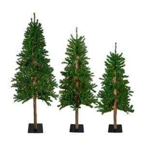 4 ft., 5 ft. and 6 ft. Pre-Lit Alpine Artificial Christmas Trees - Multi-Lights (Set of 3)