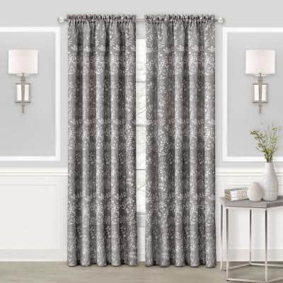 Charlotte 52 in. W x 63 in. L Polyester Light Filtering Window Panel in Grey