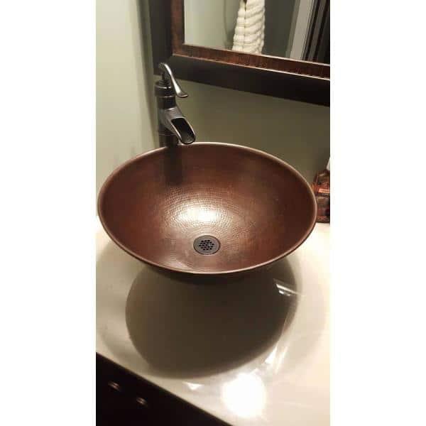 Sinkology Eddington 16 In Copper Bathroom Vessel Sink In Aged Copper Brv 1606bc The Home Depot