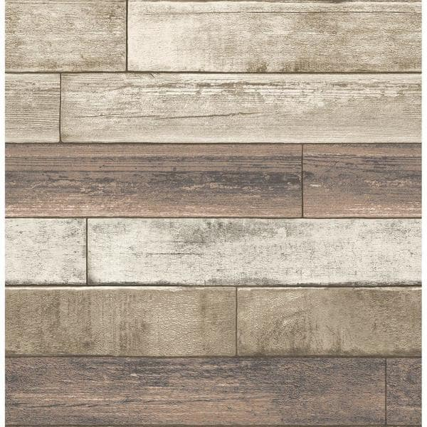 Brewster Porter Coffee Weathered Plank Paper Strippable Wallpaper Covers 56 4 Sq Ft 2701 22347 The Home Depot
