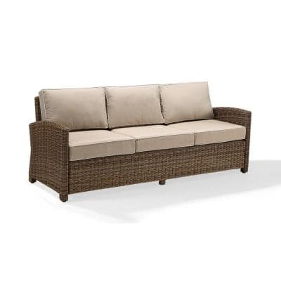 Bradenton Wicker Outdoor Sofa with Sand Cushions