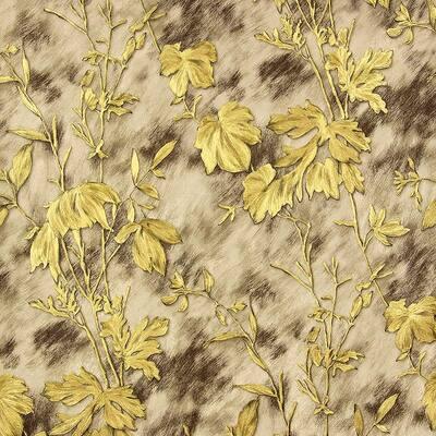 Portofino Light Brown Cow Leaves Light Brown Wallpaper Sample