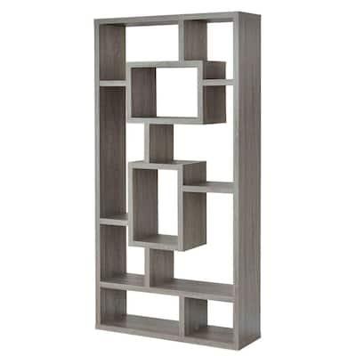 Splendid 70.75 in. H Gray Geometric Cubed Wooden 11-Shelf Rectangular Standard Bookcase