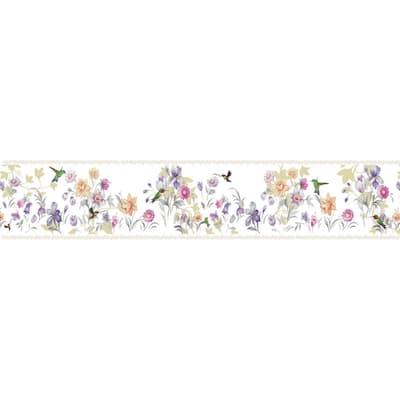 Falkirk Dandy Purple, Cream, Pink Flowers, Hummingbird Floral Peel and Stick Wallpaper Border