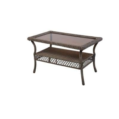 Spring Haven Grey Wicker Outdoor Patio Coffee Table