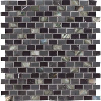 Midnight Pearl 12 in. x 12 in. x 8 mm Glass Metal and Stone Mesh-Mounted Mosaic Wall Tile (1 sq. ft.)