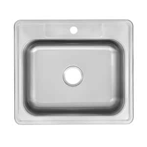 Drop-In Stainless Steel 25 in. 1-Hole Single Bowl Kitchen Sink