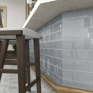 True Gray 4 in. x 12 in. x 8mm Glass Subway Tile (5 sq. ft./Case)