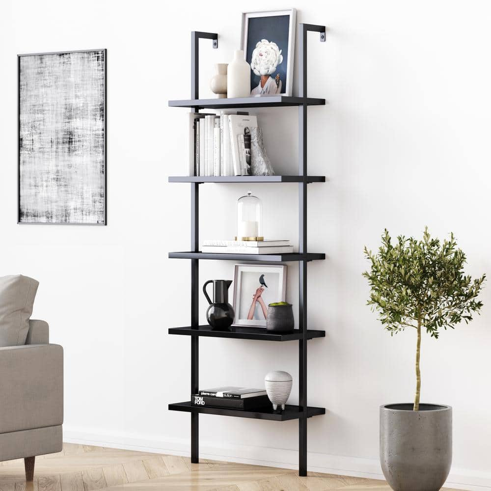 Nathan James Theo 73 In Black Wood 5 Shelf Ladder Bookcase With Matte Black Metal Frame 65505 The Home Depot
