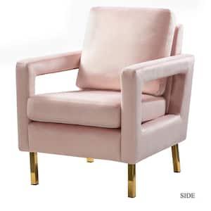 Anika Pink Gold Legs Armchair