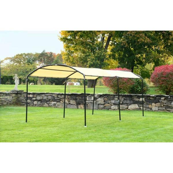 Shelterlogic 10 Ft W X 18 Ft D Monarc Canopy With 2 In Black Steel Frame And 100 Waterproof Uv Resistant Sandstone Cover 25867 The Home Depot