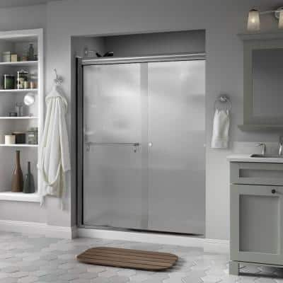 Portman 60 in. x 70 in. Semi-Frameless Traditional Sliding Shower Door in Chrome with Rain Glass