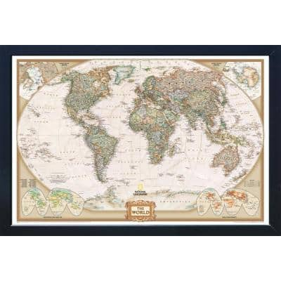 National Geographic Framed Interactive Wall Art Travel Map with Magnets - World Executive - Extra Large
