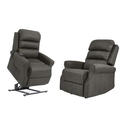 Manual Rocker Recliner and Power Lift Recliner Chairs in Slate Gray Nubuck Fabric (Set of 2)