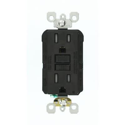 15 Amp 125-Volt Duplex SmarTest Self-Test SmartlockPro Tamper Resistant GFCI Outlet, Black