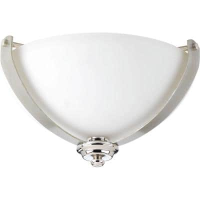 Noma Collection 2-LightPolished Nickel Flush Mount with Etched White Glass Bowl