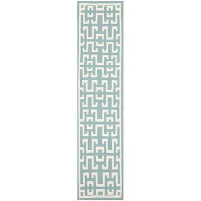 Dhurries Seafoam/Ivory 3 ft. x 10 ft. Geometric Runner Rug