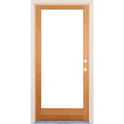 36 in. x 80 in. Left-Hand/Inswing Full Lite Low-E Clear Glass Unfinished Fir Wood Prehung Front Door