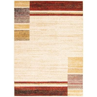 Ayla Ivory-Red 3 ft. 11 in. x 5 ft. 7 in. Border Area Rug