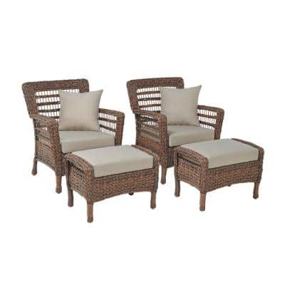 Modern Concept 4-Piece Faux Sea Grass Resin Rattan Wicker Outdoor Lounge Chair and Ottoman Set with Beige Cushions