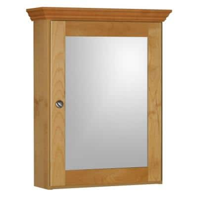 Shaker 19 in. W x 27 in. H x 6-1/2 in. D Framed Surface-Mount Bathroom Medicine Cabinet in Natural Alder