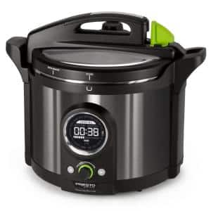 Precise Plus 10 Qt. Black Stainless Steel Electric Pressure Cooker with Built-In Timer