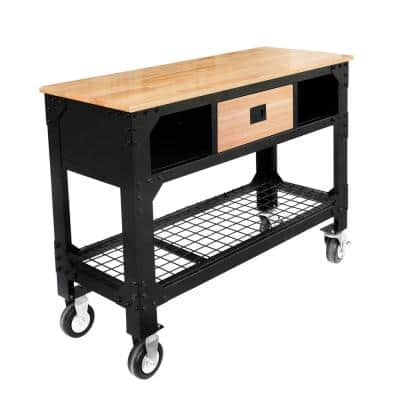 48 in. x 19 in. 1-Drawer Rolling Workbench with Wooden Top and Locking Casters