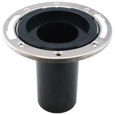 7 in. O.D. Plumbfit ABS Closet (Toilet) Flange w/Stainless Steel Ring & 6 in. Shank, Fits Inside 3 in. Sch. 40 DWV Pipe