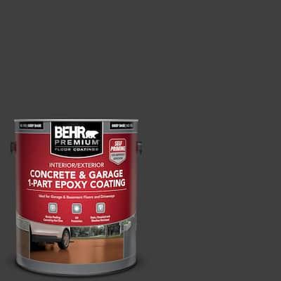 1 Gal. #ECC-10-2 Jet Black Self-Priming 1-Part Epoxy Satin Interior/Exterior Concrete and Garage Floor Paint