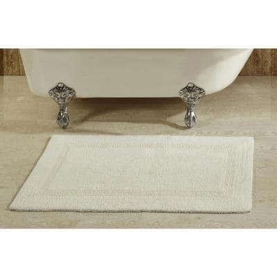 Lux Collection Ivory 21 in. x 34 in. 100% Cotton Reversible Race Track Pattern Bath Mat Rug