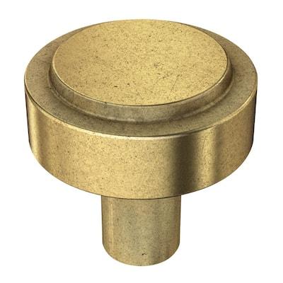 Soft Industrial 1-1/4 in. ( 32 mm) Vintage Brass Round Cabinet Knob