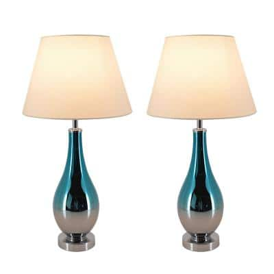 Tulip 28 in. Blue Chrome Ombre Indoor Table Lamp with Shade, Set of 2