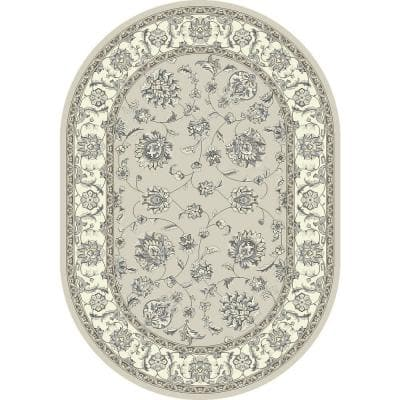 Ancient Garden Soft Grey/Cream 5 ft. x 8 ft. Oval Indoor Area Rug