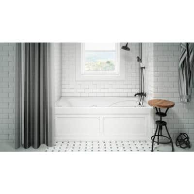 CETRA 60 in. x 32 in. Acrylic Left Drain Rectangular Alcove Whirlpool Bathtub in White