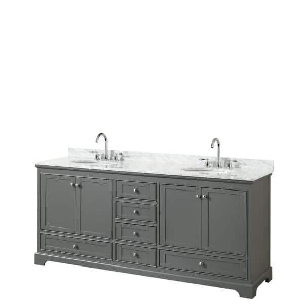 Wyndham Collection Deborah 80 In Double Bathroom Vanity In Dark Gray With Marble Vanity Top In White Carrara With White Basins Wcs202080dkgcmunomxx The Home Depot