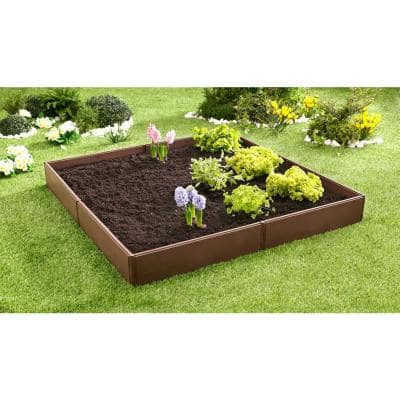 Bloomers Series 3.8 ft. x 3.8 ft. Brown Resin Raised Garden Bed