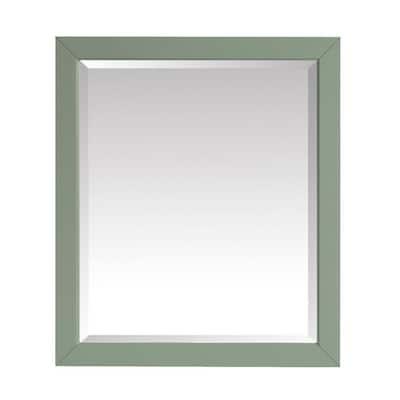 28in. W x 32 in. H Framed Rectangular Beveled Edge Bathroom Vanity Mirror in Sea Green finish