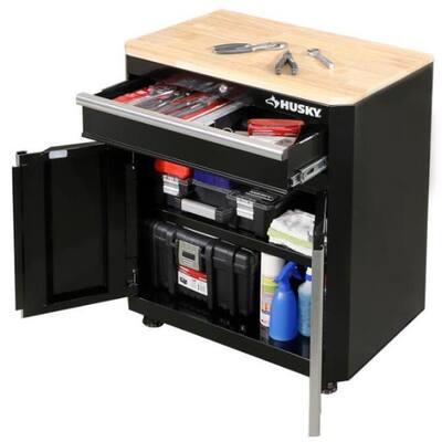 Ready-to-Assemble 24-Gauge Steel 1-Drawer 2-Door Garage Base Cabinet in Black (28 in. W x 33 in. H x 18 in. D)