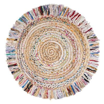 Cape Cod Ivory/Light Beige 3 ft. x 3 ft. Round Gradient Striped Area Rug