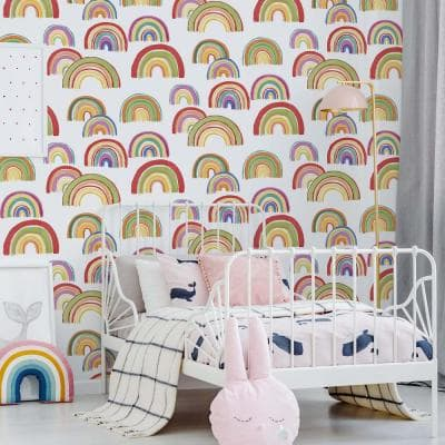 Over the Rainbow Multicolor Unpasted Removable Peelable Paper Wallpaper