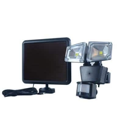 Dual COBBlackOutdoor Solar Motion Activated SecurityFloodLight with Integrated LED