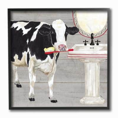 """12 in. x 12 in. """"Bath Time For Cows at Sink Red Black and GreyPainting"""" by Tara Reed Framed Wall Art"""