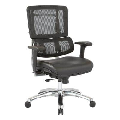 Black Mesh Back and Vinyl Seat Vertical Office Chair